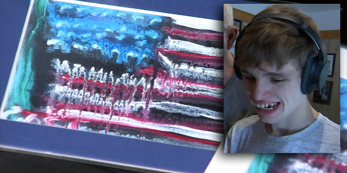 Boy born blind paints picture of American flag, gets response from President Trump