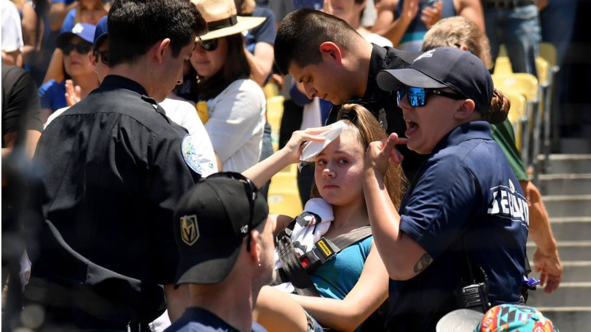 Woman injured by foul ball at Dodger Stadium