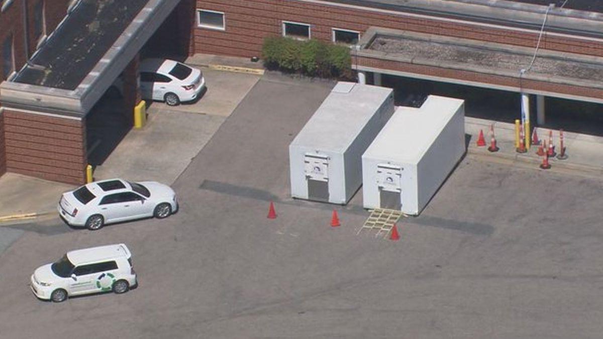 Coronavirus: Hospital sets up 'mobile morgues' as precaution