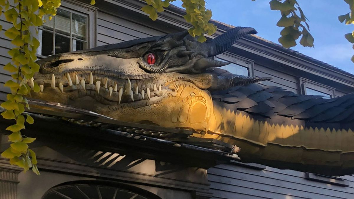 Massive dragon highlights Halloween display at Marblehead home