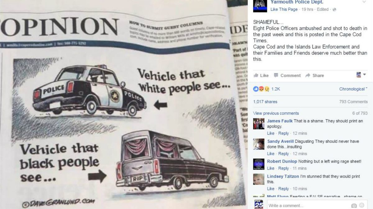 Yarmouth Police slams Cape Cod Times for editorial cartoon