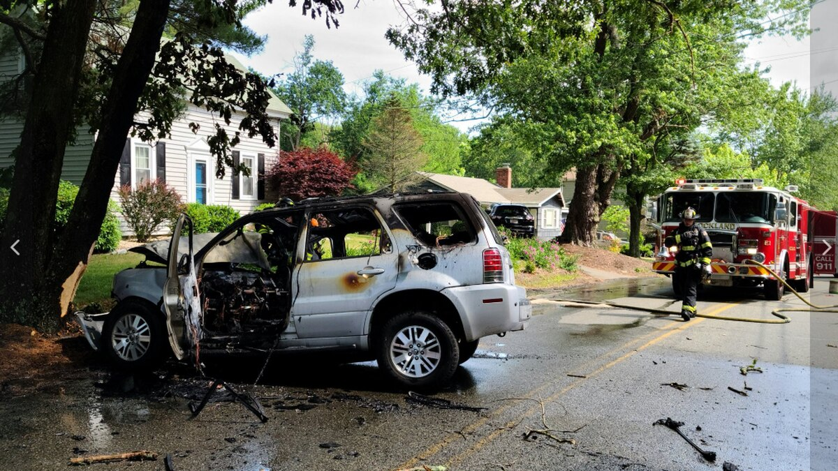 Driver hospitalized after SUV crashes, catches fire in Rockland