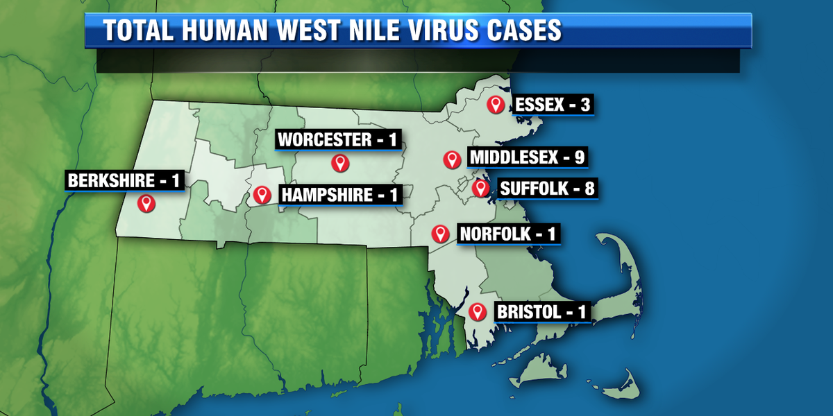 Massachusetts cities & towns where West Nile virus has been found