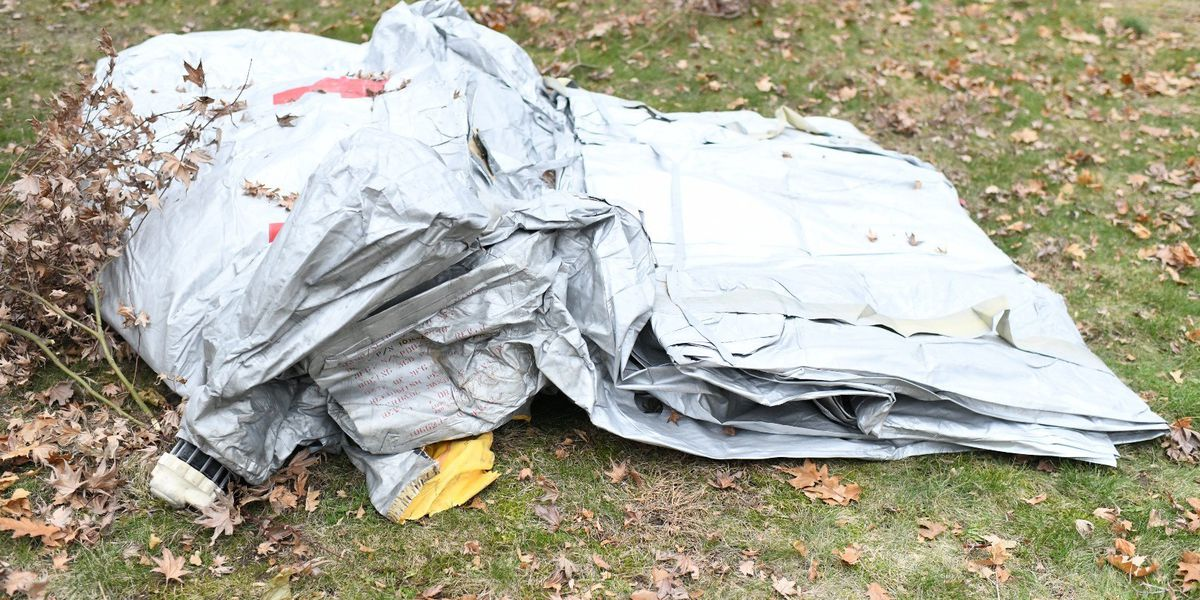 Evacuation slide from airplane falls in Milton front yard