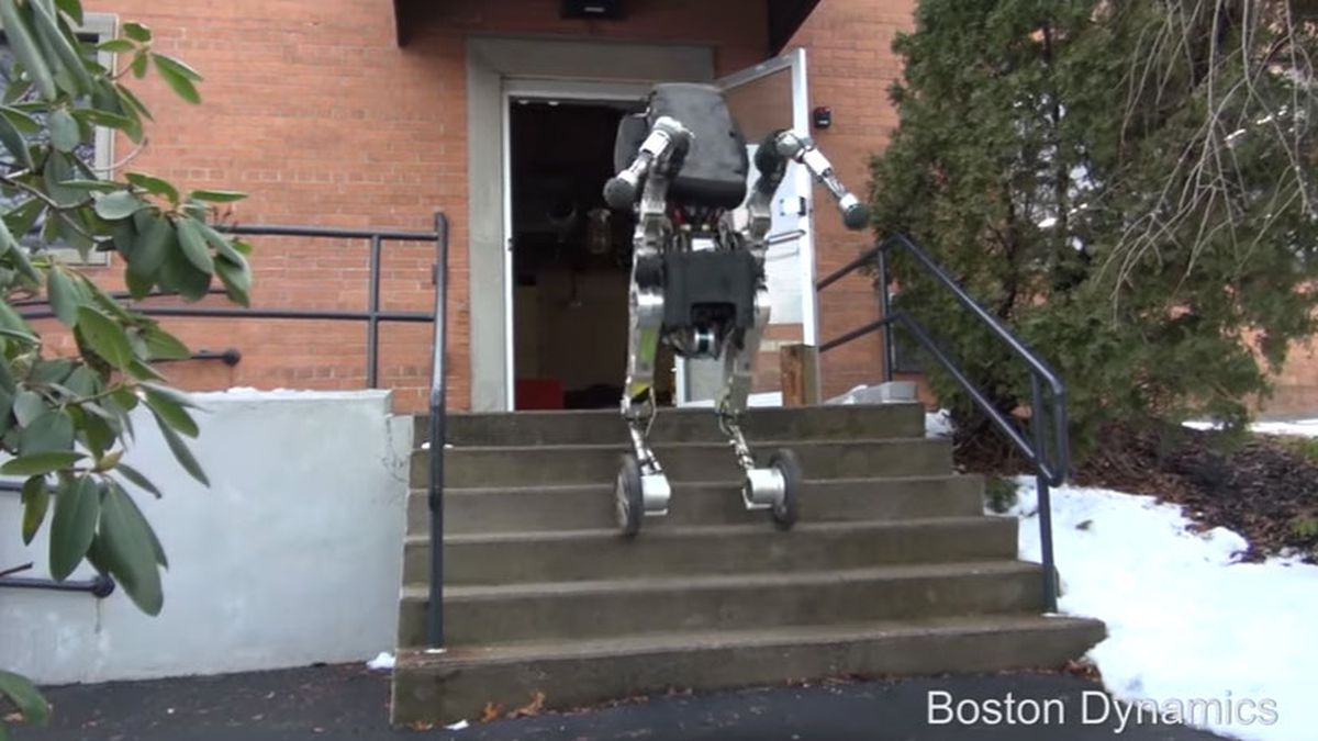New Boston Dynamics robot on wheels can jump, use stairs
